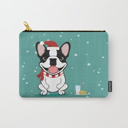 French Bulldog Waiting for Santa - Brindle Pied Edition Carry-All Pouch