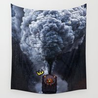 train Wall Tapestries featuring train by caksud