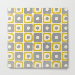 Mid Century Modern Square Dot Pattern 771 Yellow and Gray Metal Print