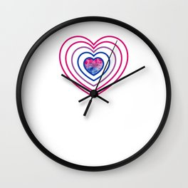 Gay Pride LGBT Bisexual Bi Heart Rainbow design Wall Clock