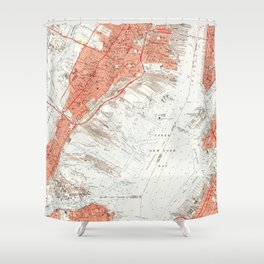 Vintage Map of Jersey City NJ (1955) Shower Curtain