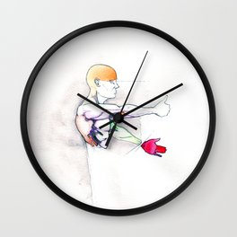 Luck, nude male muscle figure, NYC artist Wall Clock