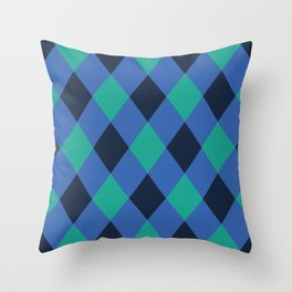 Green and blue checkered Throw Pillow