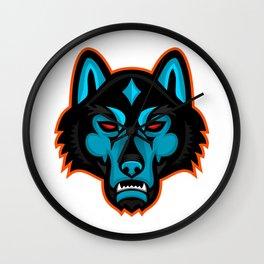 Timber Wolf Head Sports Mascot Wall Clock