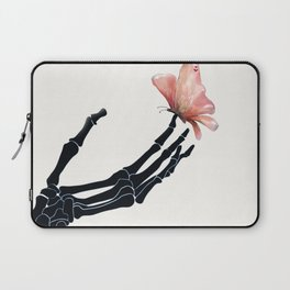Butterfly on Skeleton Hand Laptop Sleeve