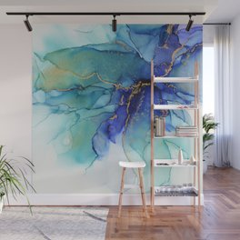 Electric Waves Violet Turquoise - Part 2 Wall Mural