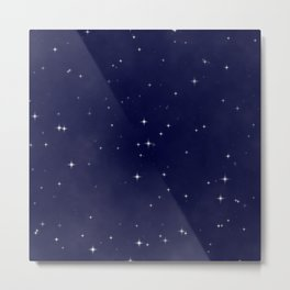 Modern navy blue white starry sky stars pattern Metal Print