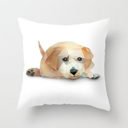 Low Poly Yellow Lab Throw Pillow