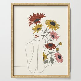 Colorful Thoughts Minimal Line Girl with Sunflowers Serving Tray