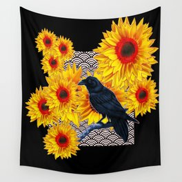 Red-Yellow Sunflowers Crow Black Abstract Art Wall Tapestry