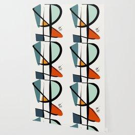 Abstract Minimal Lyrical Expressionism Art Blue Orange Wallpaper
