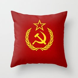Hammer and Sickle Textured Flag Throw Pillow