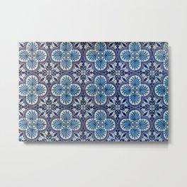 Blue Flower Mosaic Tile  Metal Print