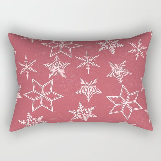 Snowflakes On Pastel Red Background Rectangular Pillow