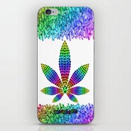 Rainbow Gems Cannabis Leaf (on White) iPhone Skin