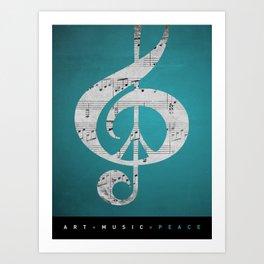 Music & Peace Aqua Sheets Art Print