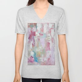 Pink Abstract Painting Unisex V-Neck