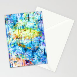 Light Blue Tie Dye Squiggle Square Pattern Stationery Cards