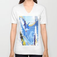 snowboarding V-neck T-shirts featuring Snowboarding by Robin Curtiss
