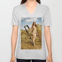 2840 Statuesque Desert Terrain Nude ~ SurXposed ~ Painteresque Girl in a Rocky Desert Landscape. Unisex V-Neck