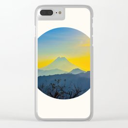 Mid Century Modern Round Circle Photo Yellow Blue Mount Fuji Sunset Watercolor Effect Landscape Clear iPhone Case