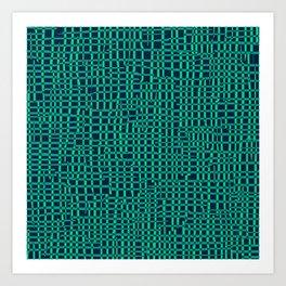 Turquoise Crosshatch Art Print