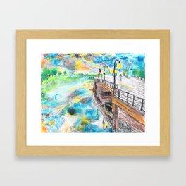 El cielo reflejado bajo un puente Framed Art Print