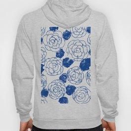 Blue blockprint roses Hoody