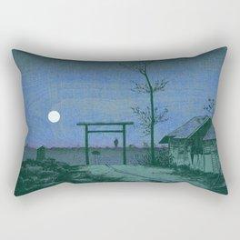 Before Tarō Inari Shrine at the Asakusa Ricefields by Kobayashi Kiyochika Rectangular Pillow
