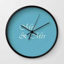 Mrs & Mrs Monogram Pale Teal Cursive Wall Clock