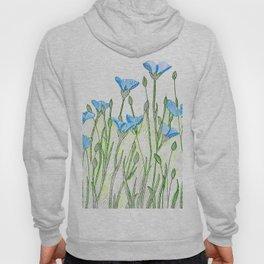 Flax flowers field Hoody