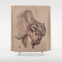 bison Shower Curtains featuring Bison by Ursula Rodgers