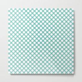 Polka dots - turquoise and white Metal Print