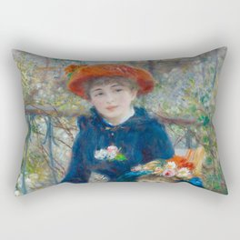 "Pierre Auguste Renoir ""Two Sisters"" Rectangular Pillow"
