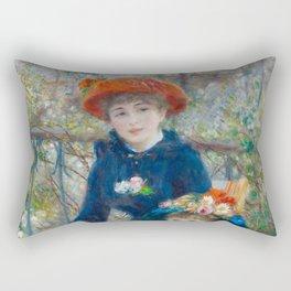 "Pierre Auguste Renoir ""Two Sisters"" Rectangular Pillow"