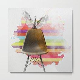 cockatoo on eames chair rainbow colours Metal Print