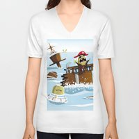 pirates V-neck T-shirts featuring Pirates by modernagestudio