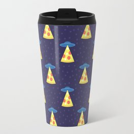 Abstract futuristic print with flying saucers, rays of light with pizza. Travel Mug
