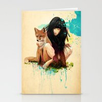 dragon ball z Stationery Cards featuring Fox Love by Ariana Perez