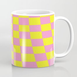 Warped perspective coloured checker board effect grid illustration yellow and pink Coffee Mug