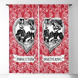 Amor Eterno | Eternal Love | Calavera Couple | Red | Black | Blackout Curtain