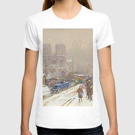 Notre Dame, Paris Winter City Scene by Eugene Galien Laloue T-shirt