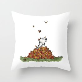 Saunders in Leaves Throw Pillow