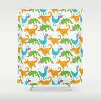 monsters Shower Curtains featuring monsters by LOLIA-LOVA
