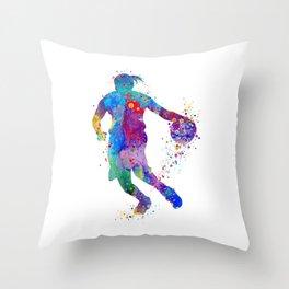 Girl Basketball Player Watercolor Sports Art Throw Pillow