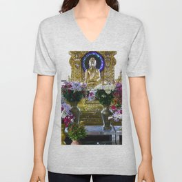 Buddha Shrine a Kuthodaw Pagoda, Myanmar Unisex V-Neck