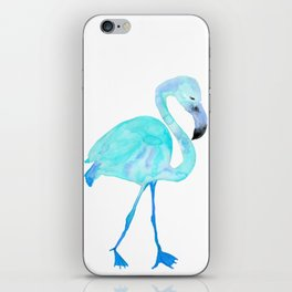 Aqua Watercolor Flamingo iPhone Skin