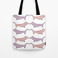 daschund Tote Bags featuring Doxie Print by Jessica May