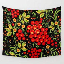 Red berry ornament khokhloma Wall Tapestry