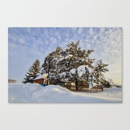 snowy winter in a Russia Canvas Print